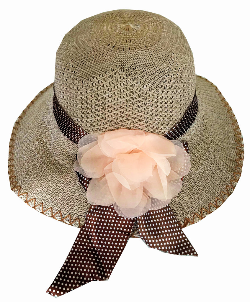 SYNC WITH STYLE Womens Ladies Floppy Foldable Summer Wedding Church Race Derby Sun Beach Straw Cap UPF 50 Foldable Wide Brim Formal Casual Adjustable Hat Brown & Peach