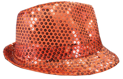 CLUB CUBANA Hawaiian Fedora Hats for Men Women Unisex Trilby Hat Panama Style Sequin Style Costume Party Cap Orange