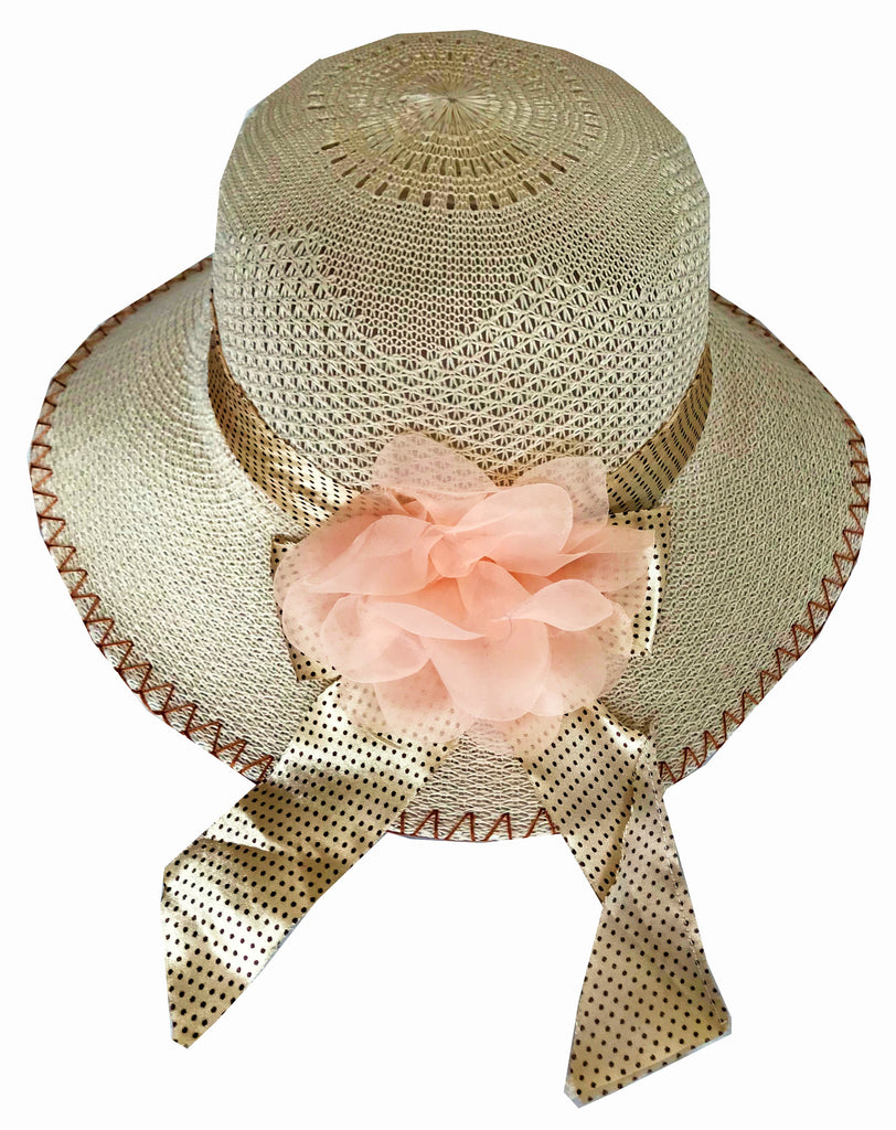 SYNC WITH STYLE Womens Ladies Floppy Foldable Summer Wedding Church Race Derby Sun Beach Straw Cap UPF 50 Foldable Wide Brim Formal Casual Adjustable Hat Light Brown & Peach