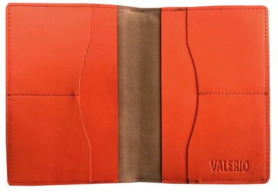 VALERIO Designer Men's Women's British United Kingdom Embossed RFID Blocking Genuine Leather Passport Cover & Boarding Pass Holder Orange