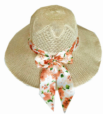 SYNC WITH STYLE Womens Ladies Floppy Foldable Summer Wedding Church Race Derby Sun Beach Straw Cap UPF 50 Foldable Wide Brim Formal Casual Adjustable Floral Brown & Orange Hat