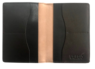 VALERIO Designer Men's Women's British United Kingdom Embossed RFID Blocking Genuine Leather Passport Cover & Boarding Pass Holder Dark Brown