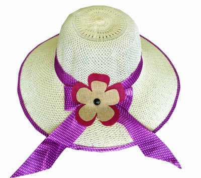 SYNC WITH STYLE Womens Ladies Floppy Foldable Summer Wedding Church Race Derby Sun Beach Straw Cap UPF 50 Foldable Wide Brim Formal Casual Adjustable Floral Off White & Purple Hat