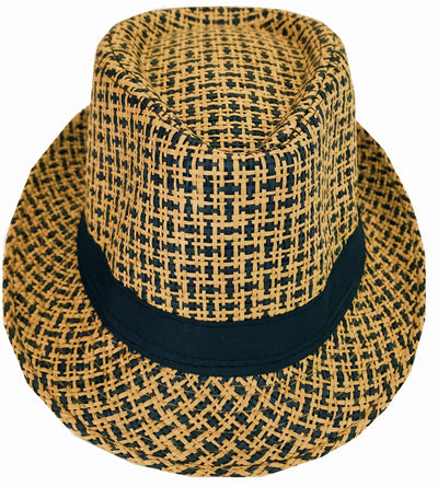 CLUB CUBANA Hawaiian Fedora Hats for Men Women Unisex Trilby Hat Panama Style Summer Beach Sun Jazz Luau Costume Party Cap Brown & Black