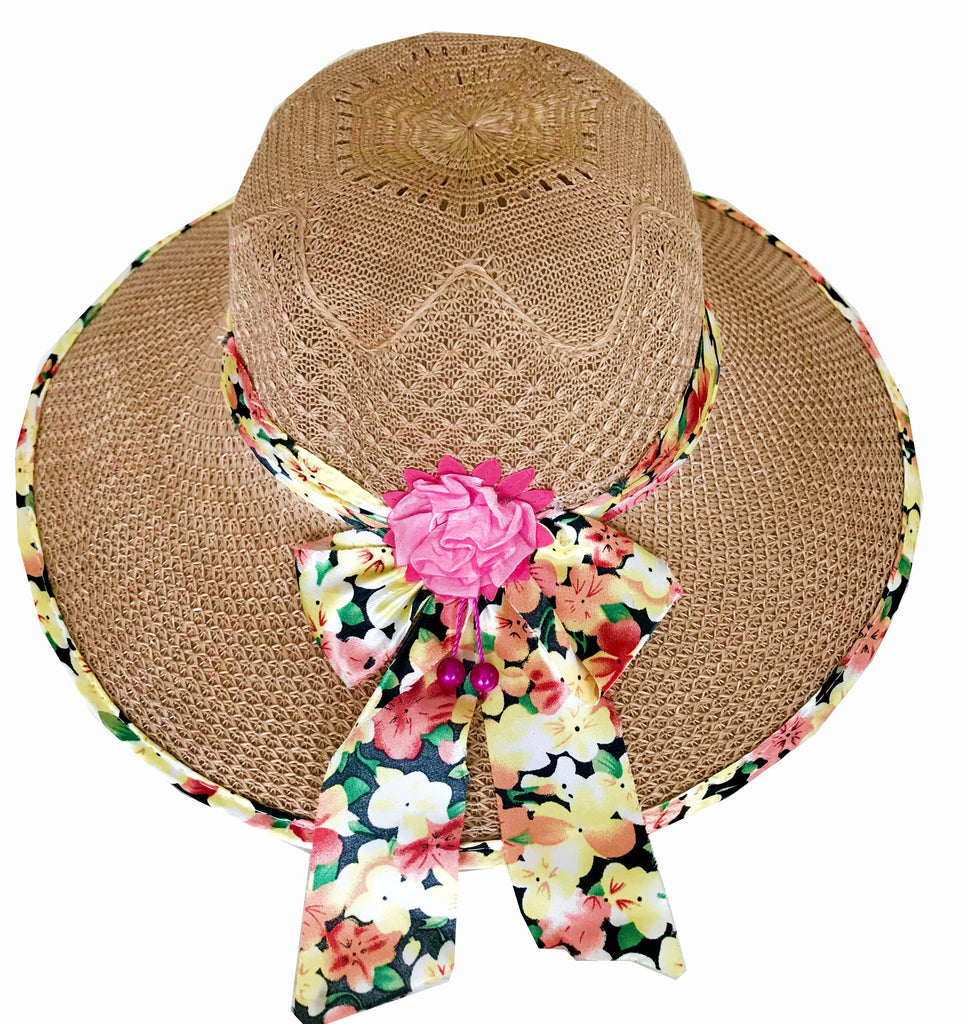 SYNC WITH STYLE Womens Ladies Floppy Foldable Summer Wedding Church Race Derby Sun Beach Straw Cap UPF 50 Foldable Wide Brim Formal Casual Adjustable Floral Brown Hat