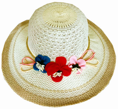 SYNC WITH STYLE Womens Ladies Floppy Foldable Summer Wedding Church Race Derby Sun Beach Straw Cap UPF 50 Foldable Wide Brim Formal Casual Adjustable Floral Off White & Light Brown Hat