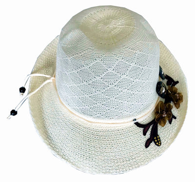SYNC WITH STYLE Womens Ladies Floppy Foldable Summer Wedding Church Race Derby Sun Beach Straw Cap UPF 50 Foldable Wide Brim Formal Casual Adjustable Floral Hat Off White