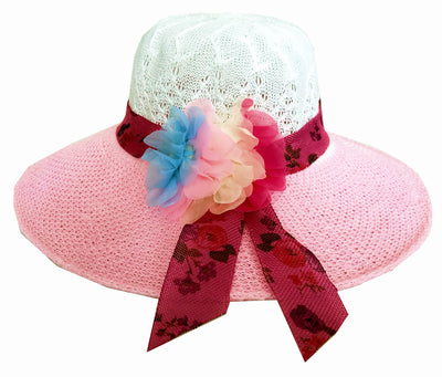 SYNC WITH STYLE Womens Ladies Floppy Foldable Summer Wedding Church Race Derby Sun Beach Straw Cap UPF 50 Foldable Wide Brim Formal Casual Adjustable Floral White & Pink Hat