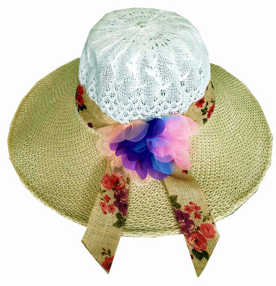 SYNC WITH STYLE Womens Ladies Floppy Foldable Summer Wedding Church Race Derby Sun Beach Straw Cap UPF 50 Foldable Wide Brim Formal Casual Adjustable Floral White & Brown Hat
