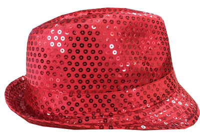 CLUB CUBANA Hawaiian Fedora Hats for Men Women Unisex Trilby Hat Panama Style Sequin Style Costume Party Cap Red