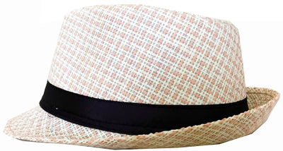 CLUB CUBANA Hawaiian Fedora Hats for Men Women Unisex Trilby Hat Panama Style Summer Beach Sun Jazz Luau Costume Party Cap White & Pink