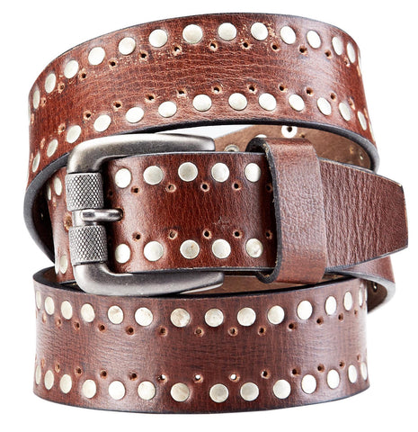 Bradley Crompton Mens Womens Unisex Brown Leather Casual Belt - Sync With Style - Casual Belts - BRADLEY CROMPTON  - 1