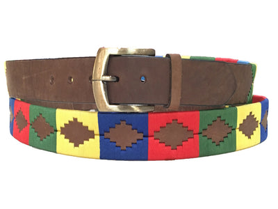 Wholesale Carlos Diaz Boys Girls Kids Childrens Unisex Argentinian Brown Leather Embroidered Polo Belt
