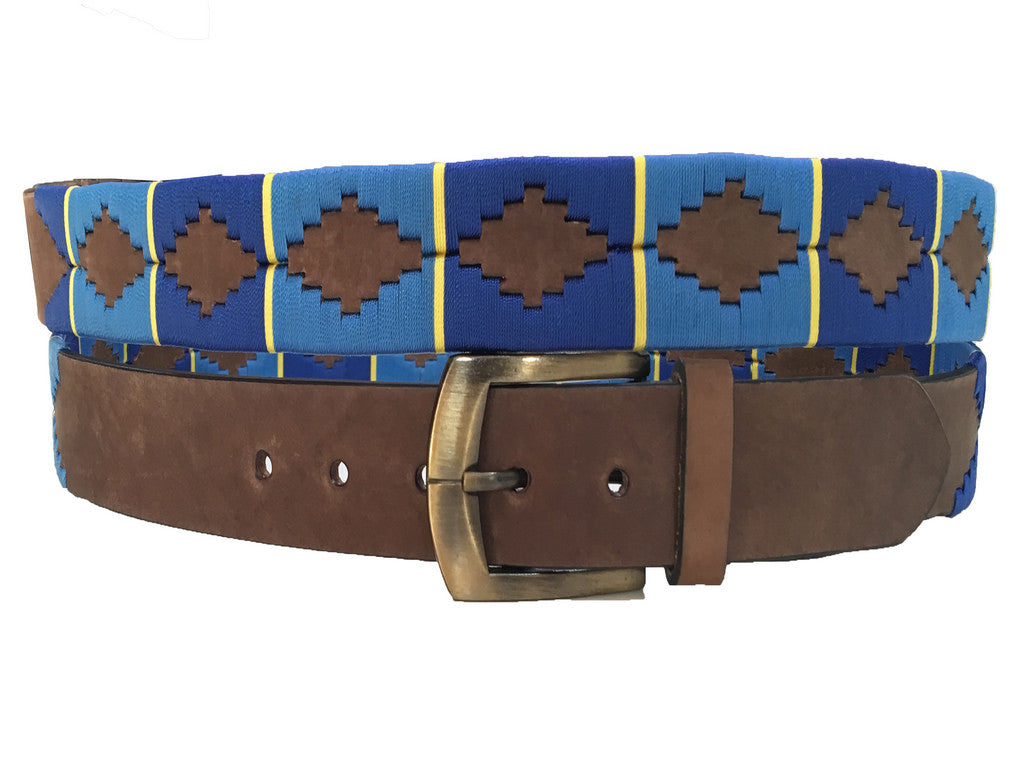 Carlos Diaz Boys Girls Kids Childrens Unisex Argentinian Brown Leather Embroidered Polo Belt
