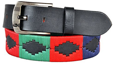 Carlos Diaz Mens Womens Unisex Argentinian Black Leather Embroidered Polo Belt - Polo Belts - Carlos Diaz - Carlos Diaz Mens Womens Unisex Argentinian Black Leather Embroidered Polo Belt - Sync With Style