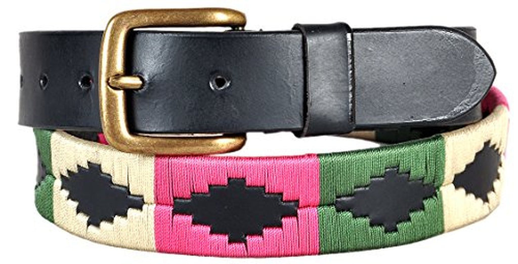 Carlos Diaz Mens Womens Unisex Argentinian Black Leather Embroidered Polo Belt - Sync With Style - Polo Belts - Carlos Diaz