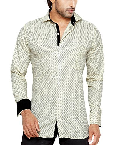 Sync With Style Franco Romano Men's Regular Fit Classic Long Sleeve Casual Shirt