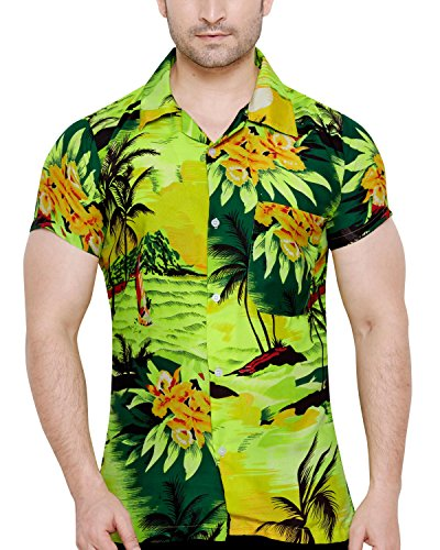 CLUB CUBANA Men's Slim Fit Classic Short Sleeve Casual Floral Hawaiian Shirt