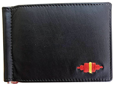 CARLOS DIAZ Designer Mens Womens Unisex Black Soft Leather Embroidered Card Holder Wallet with Money Clip
