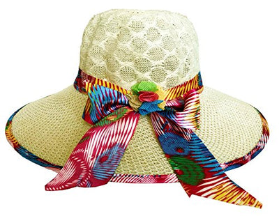 SYNC WITH STYLE Womens Ladies Floppy Foldable Summer Wedding Church Race Derby Sun Beach Straw Cap UPF 50 Foldable Wide Brim Formal Casual Adjustable Floral Hat