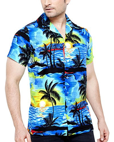 TROPICAL VIBES Men's Regular Fit Classic Short Sleeve Casual Floral Hawaiian Shirt
