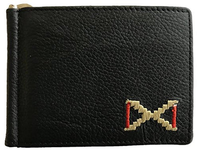 CARLOS DIAZ Designer Mens Womens Unisex Black and Brown Soft Leather Embroidered Card Holder with Money Clip