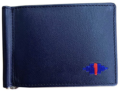 Carlos Diaz Designer Mens Womens Unisex Black and Blue Soft Leather Embroidered Card Holder Wallet with Money Clip