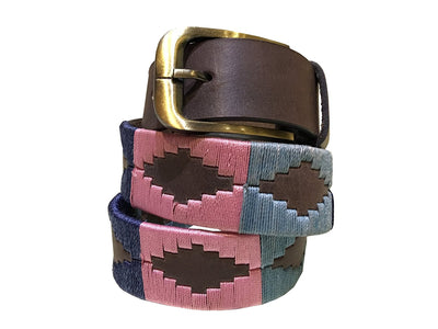 Carlos Diaz Boys Girls Kids Childrens Unisex Argentinian Brown Leather Embroidered Polo Belt - Sync With Style - Polo Belts - Carlos Diaz