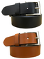 BRADLEY CROMPTON Mens Multipack Black & Tan Brown (Set of 2 Belts) Twin Pack Full Leather Grain Casual Formal Belts