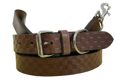 BRADLEY CROMPTON Genuine Leather Matching Pair Dog Collar and Lead Set