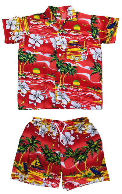 CLUB CUBANA Kids Boys Girls Childrens Slim Fit Classic Short Sleeve Casual Floral Hawaiian Shirts and Shorts Set Red