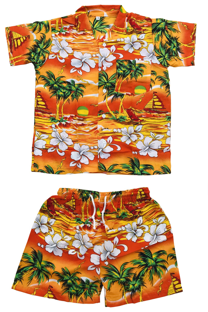 CLUB CUBANA Kids Boys Girls Childrens Slim Fit Classic Short Sleeve Casual Floral Hawaiian Shirts and Shorts Set Orange