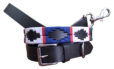 Wholesale Carlos Diaz Genuine Leather Matching Pair Waxed Embroidered Polo Dog Collar and Lead Set