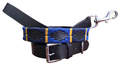 Carlos Diaz Genuine Leather Matching Pair Waxed Embroidered Polo Dog Collar and Lead Set
