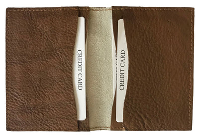 CARLOS DIAZ Designer Mens Womens Unisex Brown Soft Leather Embroidered Debit Credit Card Holder