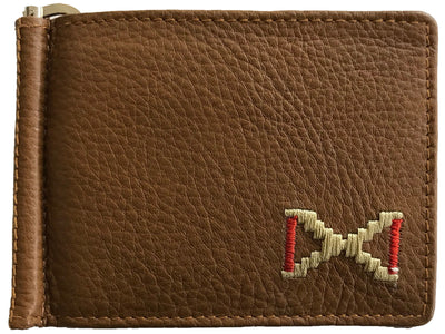 CARLOS DIAZ Designer Mens Womens Unisex Brown Soft Leather Embroidered Card Holder With Money Clip
