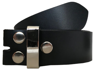SYNC WITH STYLE Mens Womens Unisex Black Full Genuine Leather Casual Formal Press Stud Chrome Finish Snap On Belts