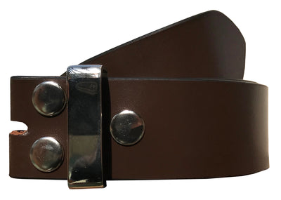 SYNC WITH STYLE Mens Womens Unisex Brown Full Genuine Leather Casual Formal Press Stud Chrome Finish Snap On Belts