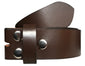 SYNC WITH STYLE Mens Womens Unisex Brown Full Genuine Leather Casual Formal Press Stud Snap On Belt