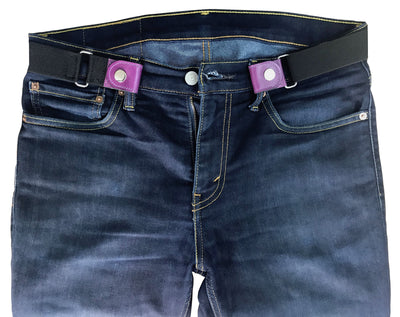 VALERIO Boys Girls Kids Childrens Unisex Buckle-Free Hassle-Free Bulge-Free Breathe Easy Genuine Purple Leather Belt