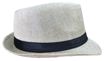 CLUB CUBANA Fedora Hats for Men Women Unisex Trilby Hat Panama Style Summer Beach Sun Jazz Cap Beige