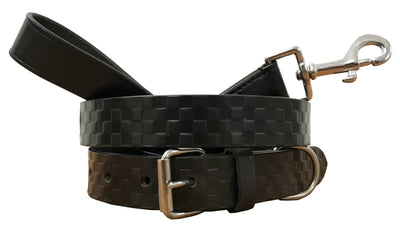 BRADLEY CROMPTON Genuine Leather Matching Pair Dog Collar and Lead Set 59dc9c82c9e0
