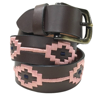 Carlos Diaz Mens Womens Unisex Argentinian Brown Leather Embroidered Polo Belt - Sync With Style - Polo Belts - Carlos Diaz  - 1