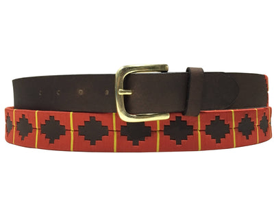 Carlos Diaz Mens Womens Unisex Argentinian Brown Leather Embroidered Gaucho Polo Belt