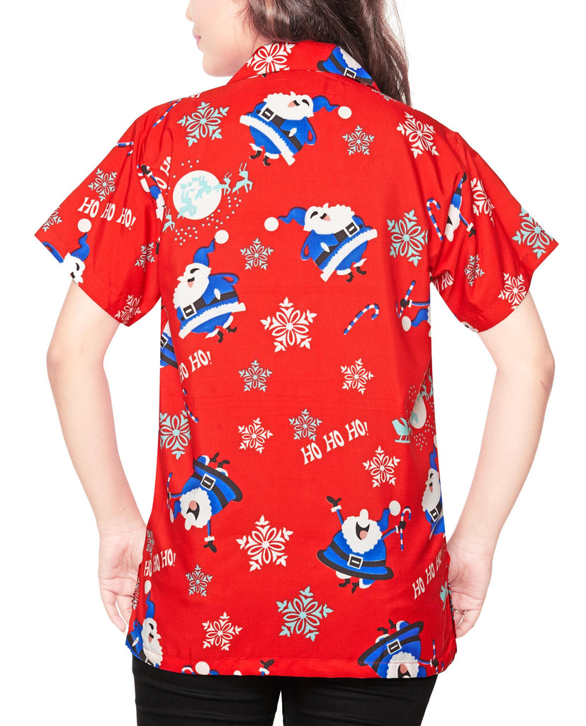 CLUB CUBANA Women's Regular Fit Classic Short Sleeve Casual Christmas Xmas Blouse Shirt