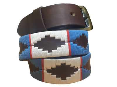 Wholesale Carlos Diaz Mens Womens Unisex Argentinian Brown Leather Embroidered Polo Belt