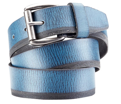 Bradley Crompton Mens Womens Unisex Blue Leather Casual Belt - Sync With Style - Casual Belts - BRADLEY CROMPTON  - 1