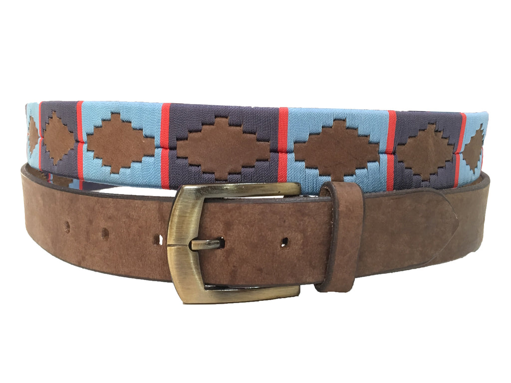 Carlos Diaz Mens Womens Unisex Argentinian Brown Leather Embroidered Polo Belt