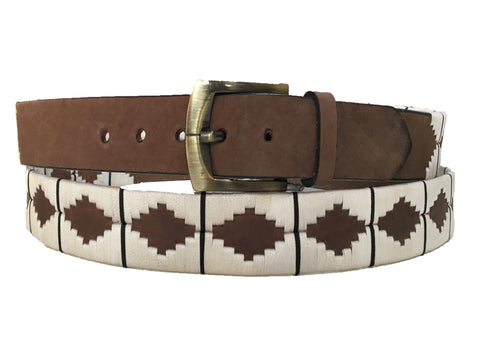 Carlos Diaz Mens Womens Unisex Argentinian Brown Leather Embroidered Polo Belt - Polo Belts - Carlos Diaz - Carlos Diaz Mens Womens Unisex Argentinian Brown Leather Embroidered Polo Belt - Sync With Style
