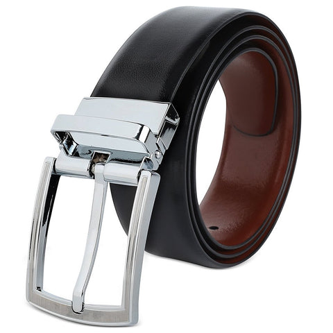 HAWKINS AND JENKINS Womens Reversible Black & Brown (TWO IN ONE) Genuine Leather Twistable Buckle Casual Formal Belt